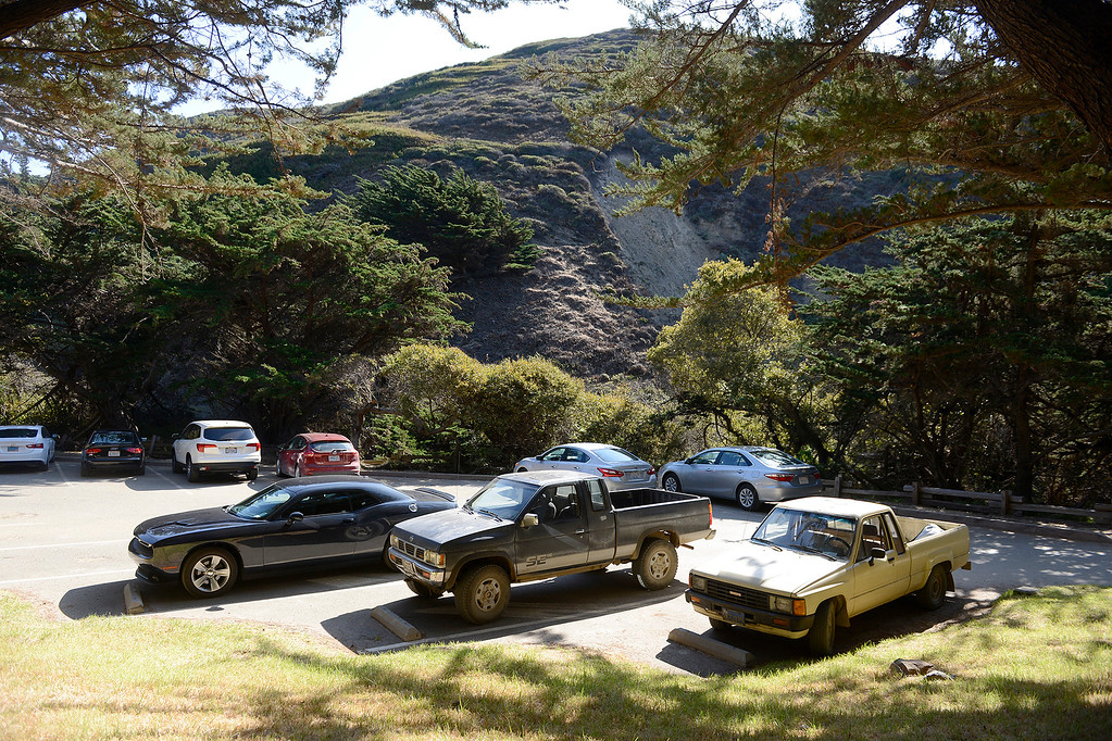 . The parking lot at Pfeiffer Beach in Big Sur on Wednesday, Nov. 1, 2017.  (Vern Fisher - Monterey Herald)
