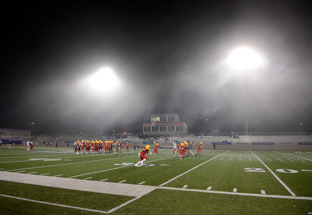 . The fog rolled in prior to the start of the Palma vs. Seaside game at Rabobank Stadium in Salinas on Oct. 27, 2017.   (Vern Fisher - Monterey Herald)