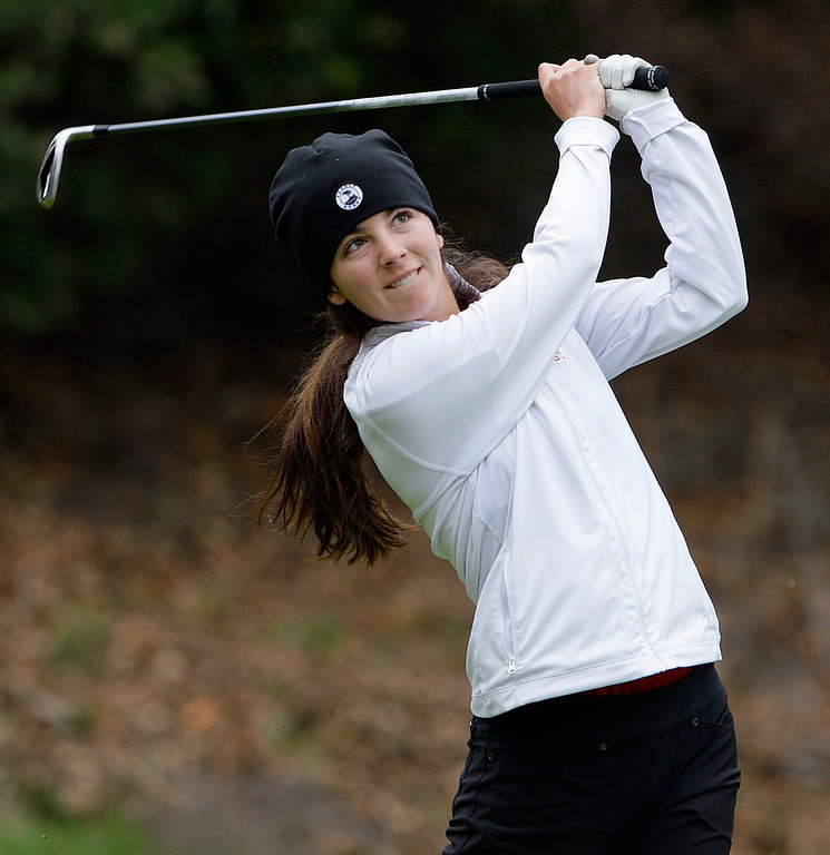 . Carmel High\'s Lauren Hickam at Laguna Seca Golf Ranch in Monterey during the girls CCS Golf Championship on Tuesday, Oct. 31, 2017.   (Vern Fisher - Monterey Herald)