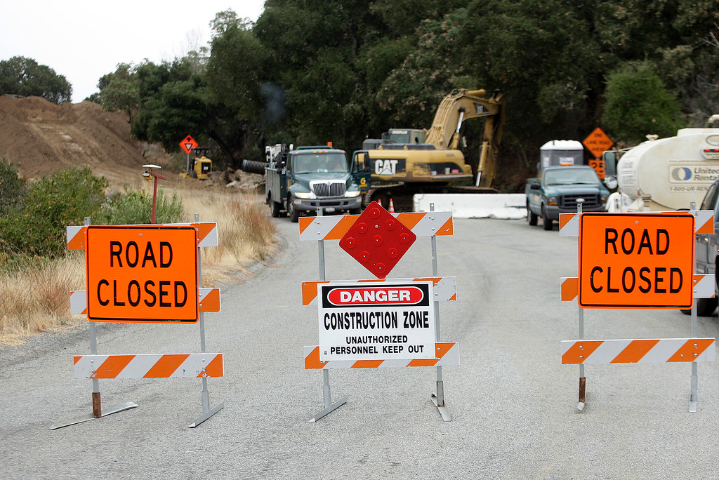 . Construction continues on Cachagua Road in Carmel Valley on Monday, Oct. 30, 2017.  (Vern Fisher - Monterey Herald)
