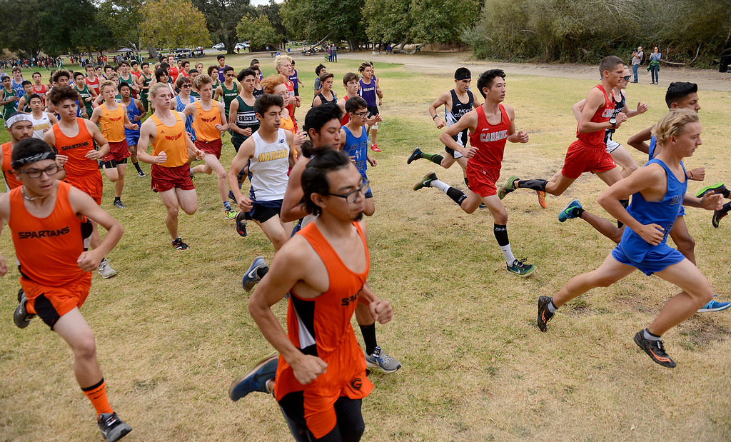 . The start of the boys varsity MTAL cross country finals at Toro Park on Thursday, Nov. 2, 2017.  (Vern Fisher - Monterey Herald)