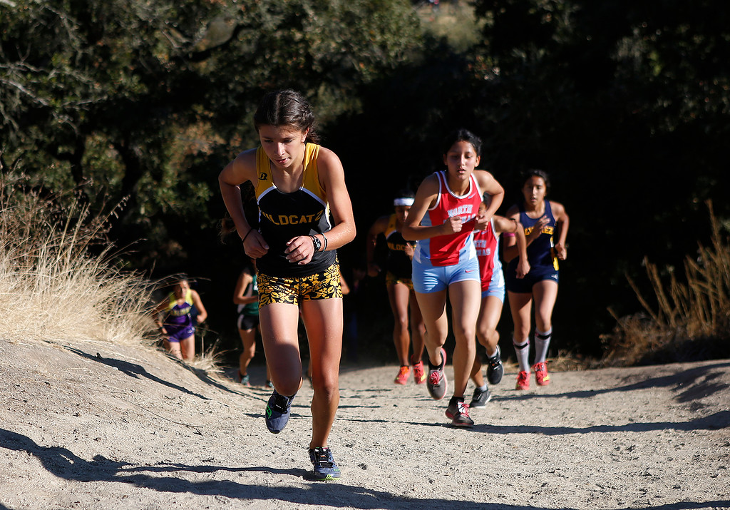 . Watsonville\'s Layla Ruiz climbs a hill during the MBL girls cross country finals at Toro Park in rural Salinas on Saturday October 28, 2017. Ruiz took second in the race.  (David Royal/Herald Correspondent)