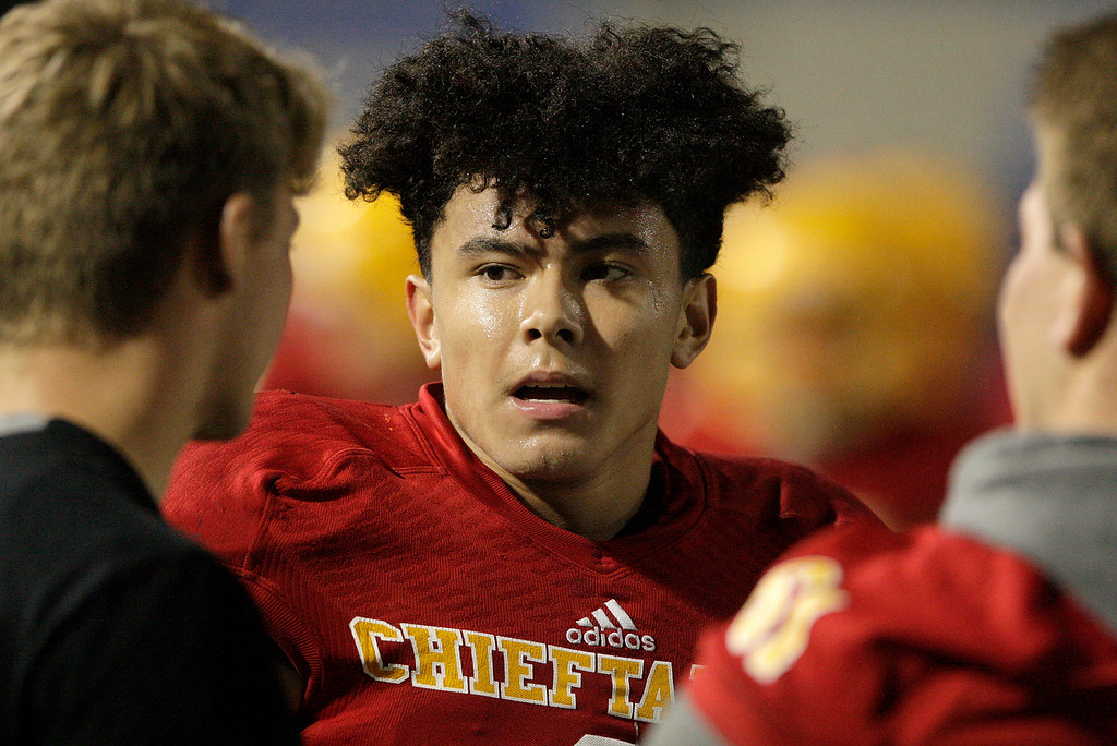 . Palma running back Anthony Villegas (1) on the sidelines in the first half of their game against Seaside High at Rabobank Stadium in Salinas on Oct. 27, 2017.   (Vern Fisher - Monterey Herald)