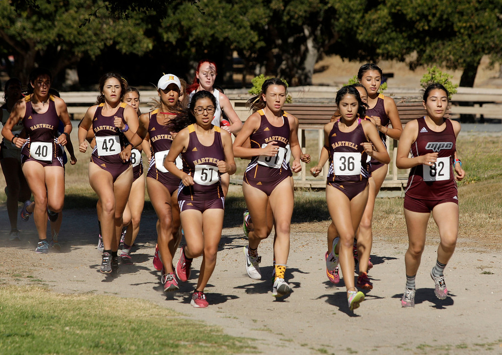 . A pack of Hartnell College runners during Coast Conference Cross Country Finals race at Toro Park on Friday, Oct. 27, 2017.   (Vern Fisher - Monterey Herald)