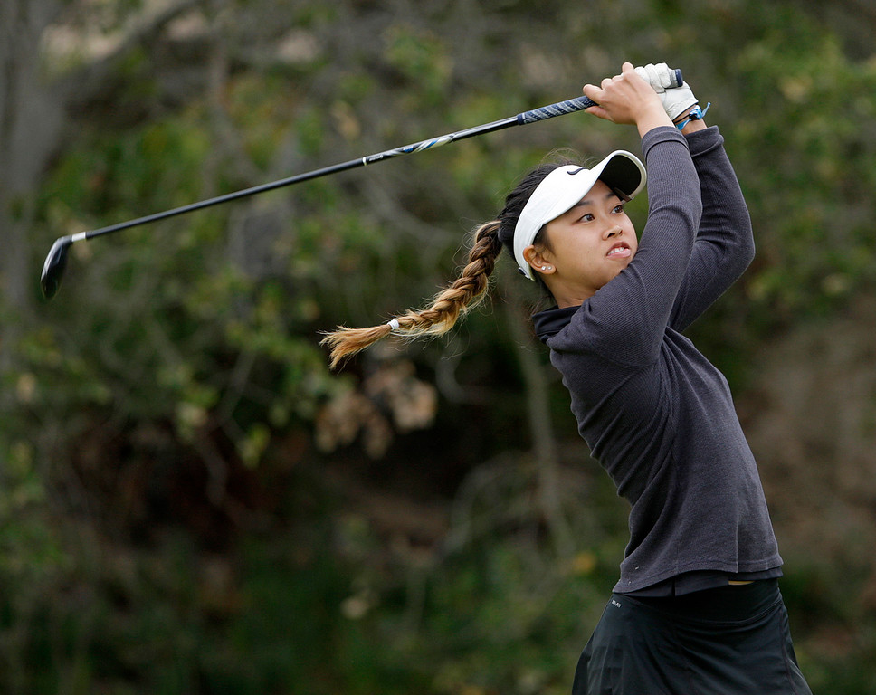 . Stevenson School\'s Antonia Malate tees off on the tenth hole at Laguna Seca Golf Ranch in Monterey during the girls CCS Golf Championship on Tuesday, Oct. 31, 2017.   (Vern Fisher - Monterey Herald)