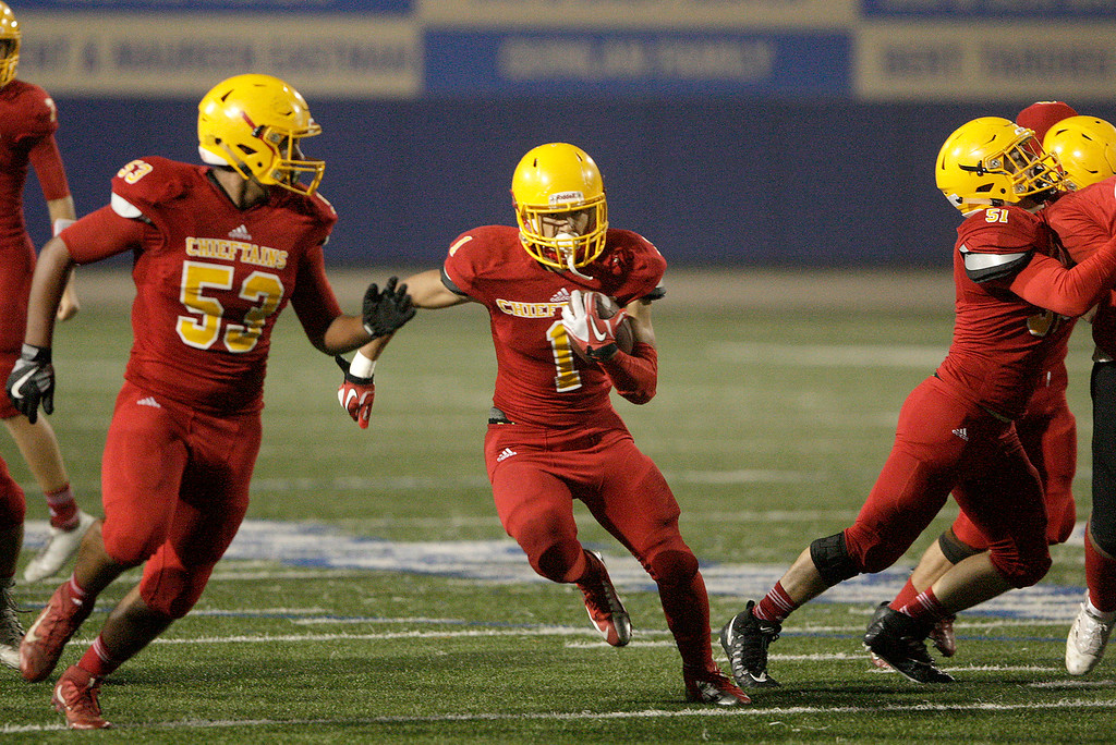 . Palma running back Anthony Villegas (1) finds a hole to run through in the first half of their game against Seaside High at Rabobank Stadium in Salinas on Oct. 27, 2017.   (Vern Fisher - Monterey Herald)