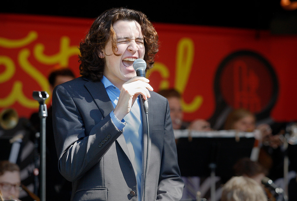 . Vocalist William Brandt with the Next Generation Jazz Orchestra plays during the Concert on the Lawn for 500 Monterey County students at the Monterey Jazz Festival on Thursday, September 20, 2018.   (Vern Fisher - Monterey Herald)