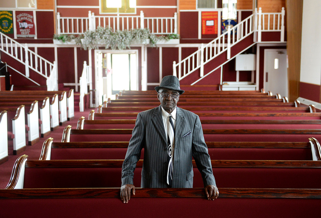 . Reverend Samuel Gaskins inside the Christian Memorial Tabernacle in Seaside on Tuesday, September 18, 2018.  The court battle over his eviction has ended with a settlement between Gaskins and the city of Seaside.  (Vern Fisher - Monterey Herald)