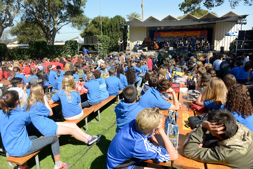 . Over 500 Monterey County school students listen to the Next Generation Jazz Orchestra plays during the Concert on the Lawn for 500 Monterey County students at the Monterey Jazz Festival on Thursday, September 20, 2018.   (Vern Fisher - Monterey Herald)