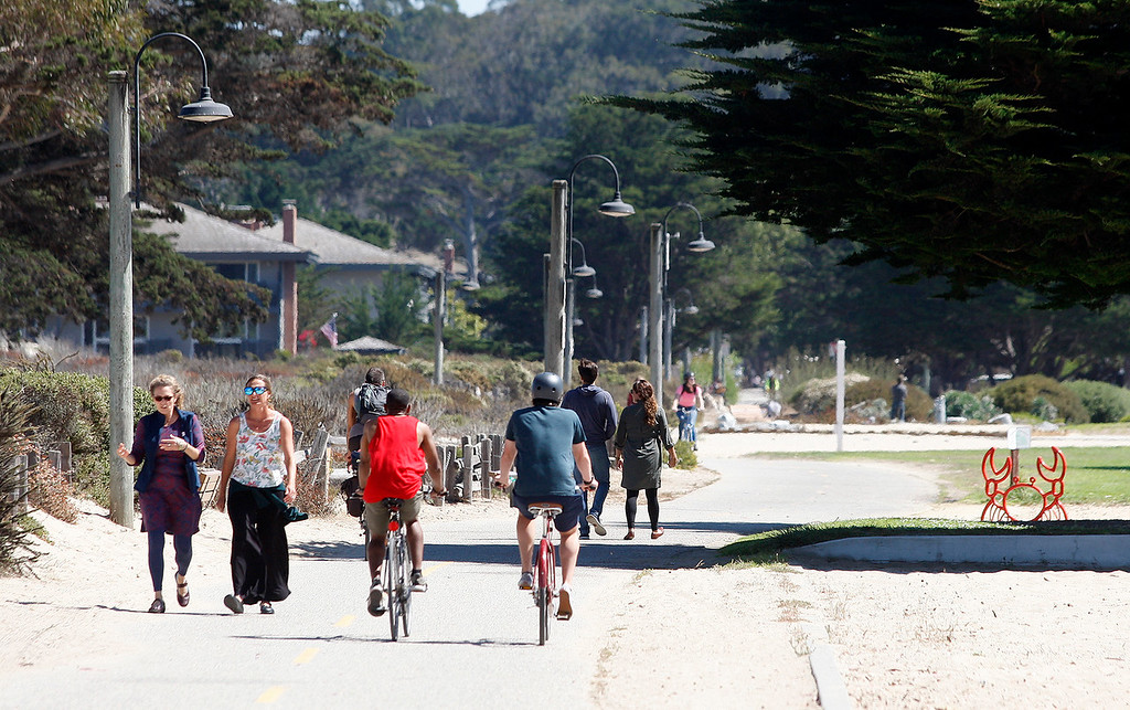 . The sunshine brought people out on the recreational trail through Monterey on Friday, September 14, 2018.  (Vern Fisher - Monterey Herald)