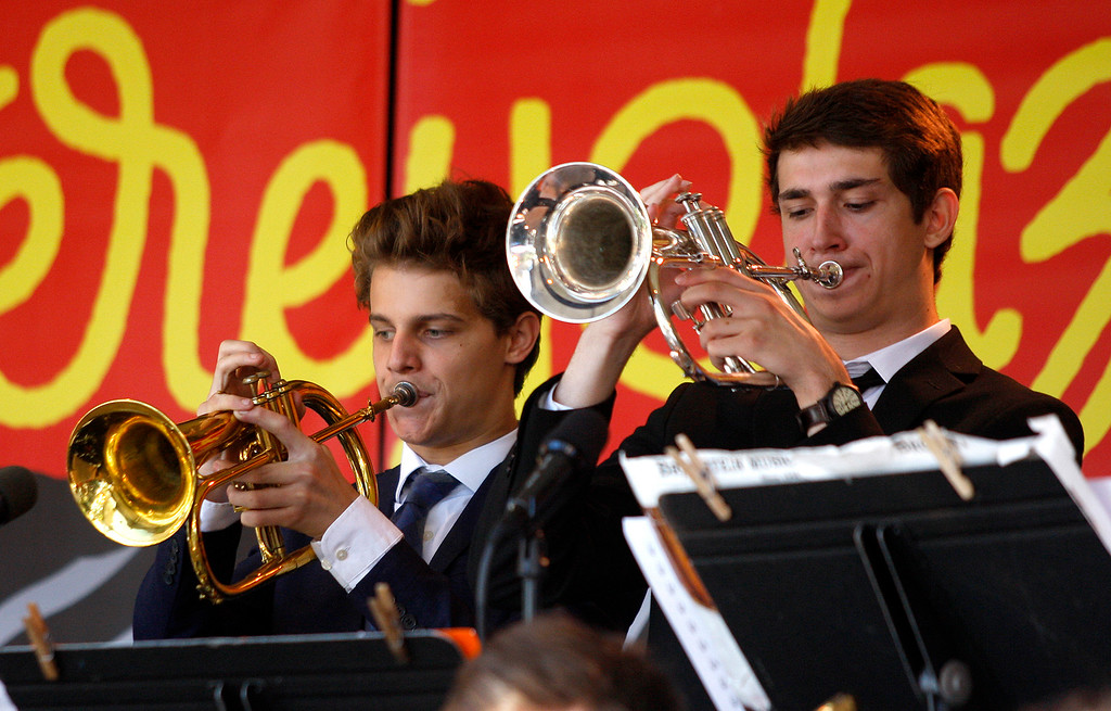 . Ethan Avery and Jack McDonald, trumpet players with the Next Generation Jazz Orchestra play during the Concert on the Lawn for 500 Monterey County students at the Monterey Jazz Festival on Thursday, September 20, 2018.   (Vern Fisher - Monterey Herald)