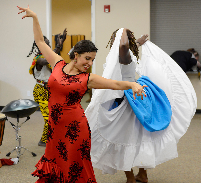 . Mohamed Bangoura, Kristelle Monterrosa and Ebonie Barnett with the Dancing Souls, Global Dance Rhythms performance for Central Coast High School students in Seaside on Wednesday, September 19, 2018.  (Vern Fisher - Monterey Herald)