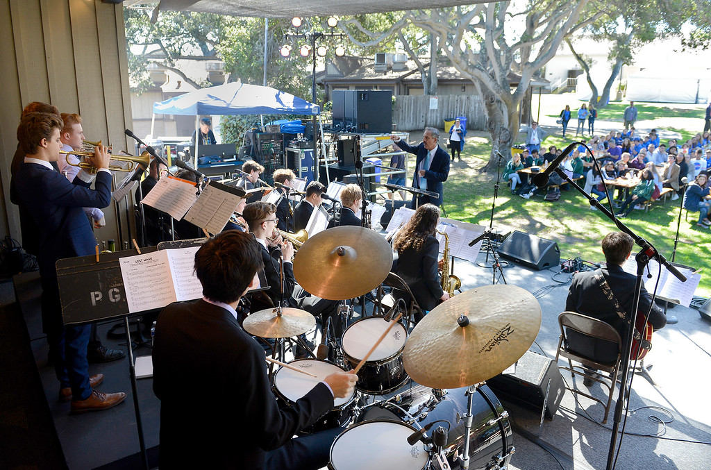 . The Next Generation Jazz Orchestra with director Paul Contos play during the Concert on the Lawn for 500 Monterey County students at the Monterey Jazz Festival on Thursday, September 20, 2018.   (Vern Fisher - Monterey Herald)