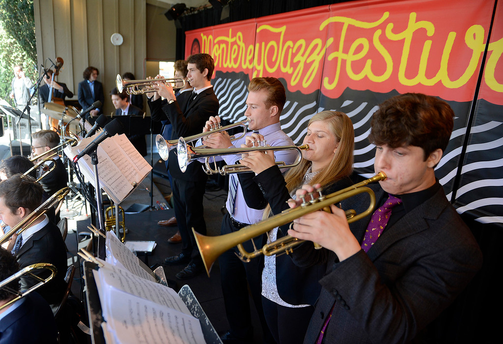 . The Next Generation Jazz Orchestra plays during the Concert on the Lawn for 500 Monterey County students at the Monterey Jazz Festival on Thursday, September 20, 2018.   (Vern Fisher - Monterey Herald)