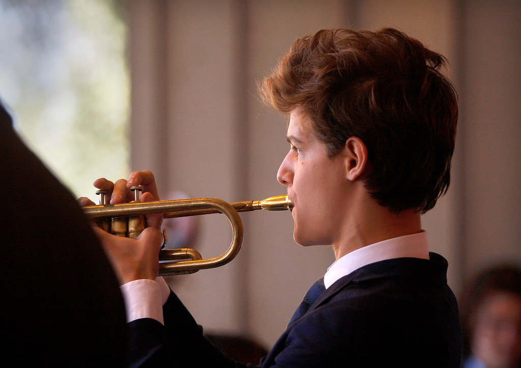 . Ethan Avery, trumpet player with the Next Generation Jazz Orchestra plays during the Concert on the Lawn for 500 Monterey County students at the Monterey Jazz Festival on Thursday, September 20, 2018.   (Vern Fisher - Monterey Herald)