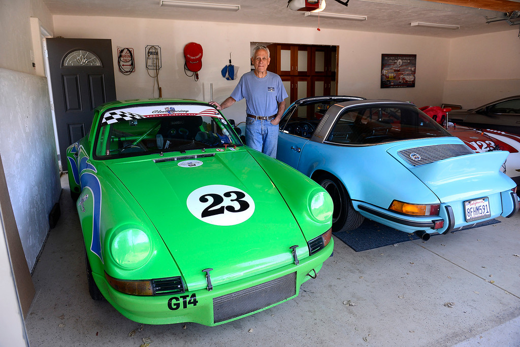 . Alan Friedman in his Carmel Valley garage on Tuesday, September 25, 2018 with the 1973 Porsche 911 RSR replica that he will race this weekend at WeatherTech Raceway Laguna Seca at the Porsche Rennsport Reunion VI event.  (Vern Fisher - Monterey Herald)