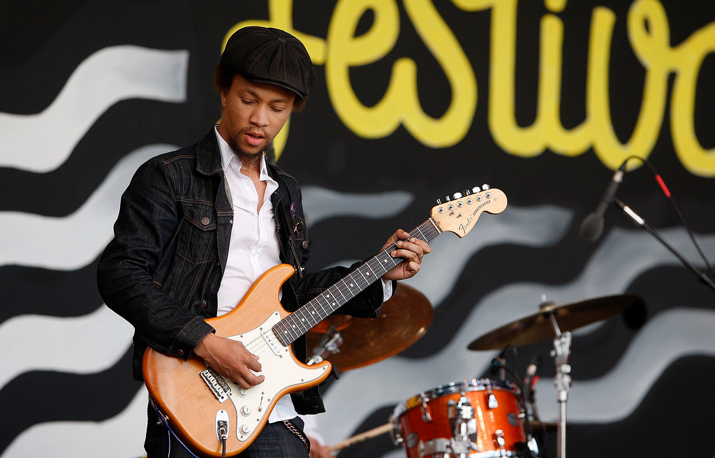 . Guitarist Carlton Washington plays with Thornetta Davis on the Jimmy Lyons stage in the main arena at the Monterey Jazz Festival on Saturday, September 22, 2018.  (Vern Fisher - Monterey Herald)