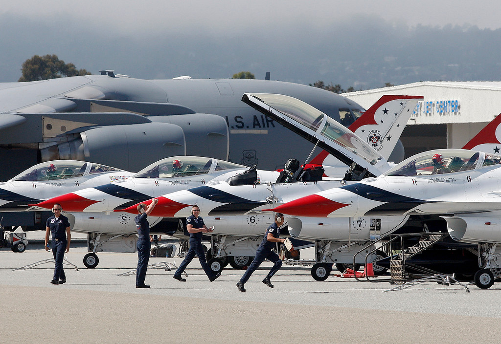 . The United States Air Force Thunderbirds arrive at Monterey Regional Airport on Thursday, September 27, 2018.  (Vern Fisher - Monterey Herald)