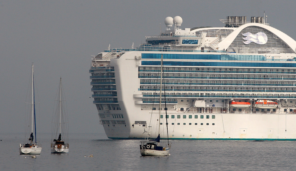 . The cruise ship Ruby Princess at anchor off Monterey on Wednesday, September 26, 2018.   (Vern Fisher - Monterey Herald)