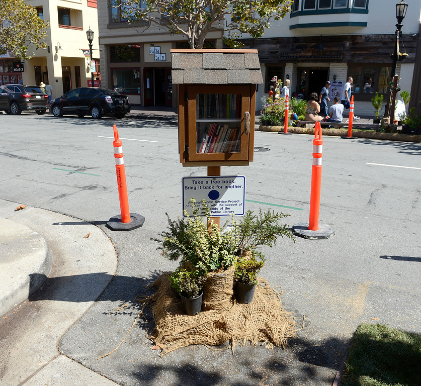 . A mini library parklet sponsored by the Monterey Public Library on Alvarado Street.  The City of Monterey participated in (PARK)ing Day on Alvarado Street in Monterey on Friday, Sept. 21, 2018.  (PARK)ing Day is an annual event that transforms parking spaces into temporary parklets. These mini parks featured green spaces, outdoor seating and fun and educational booths from various City departments.  (Vern Fisher - Monterey Herald)