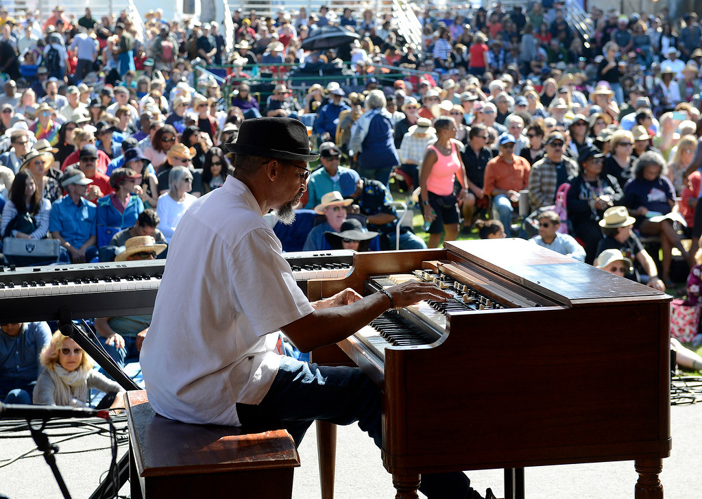 . Keyboardist Philip J. Hale with the Thornetta Davis group on the Garden stage in the main arena at the Monterey Jazz Festival on Saturday, September 22, 2018.  (Vern Fisher - Monterey Herald)