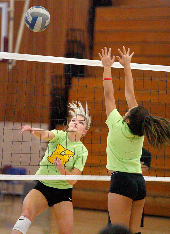 . Hartnell College\'s Sam Shaffer at volleyball practice on Monday, September 24, 2018.  (Vern Fisher - Monterey Herald)