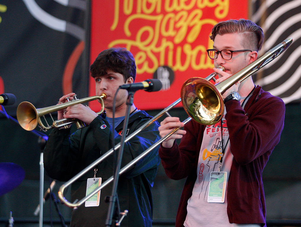 . Members of the Next Generation Jazz Orchestra Combo at the Monterey Jazz Festival on Friday, September 21, 2018.  (Vern Fisher - Monterey Herald)