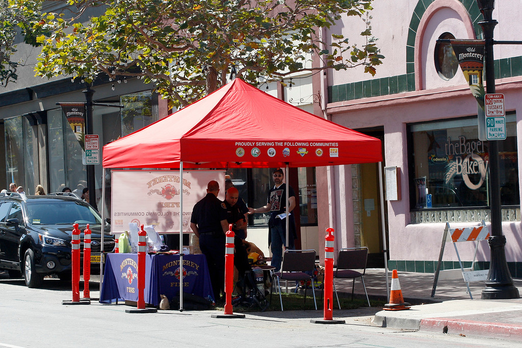 . The Monterey Fire Department sponsored parklet on Alvarado Street in Monterey.  The City of Monterey participated in (PARK)ing Day on Alvarado Street in Monterey on Friday, Sept. 21, 2018.  (PARK)ing Day is an annual event that transforms parking spaces into temporary parklets. These mini parks featured green spaces, outdoor seating and fun and educational booths from various City departments.  (Vern Fisher - Monterey Herald)