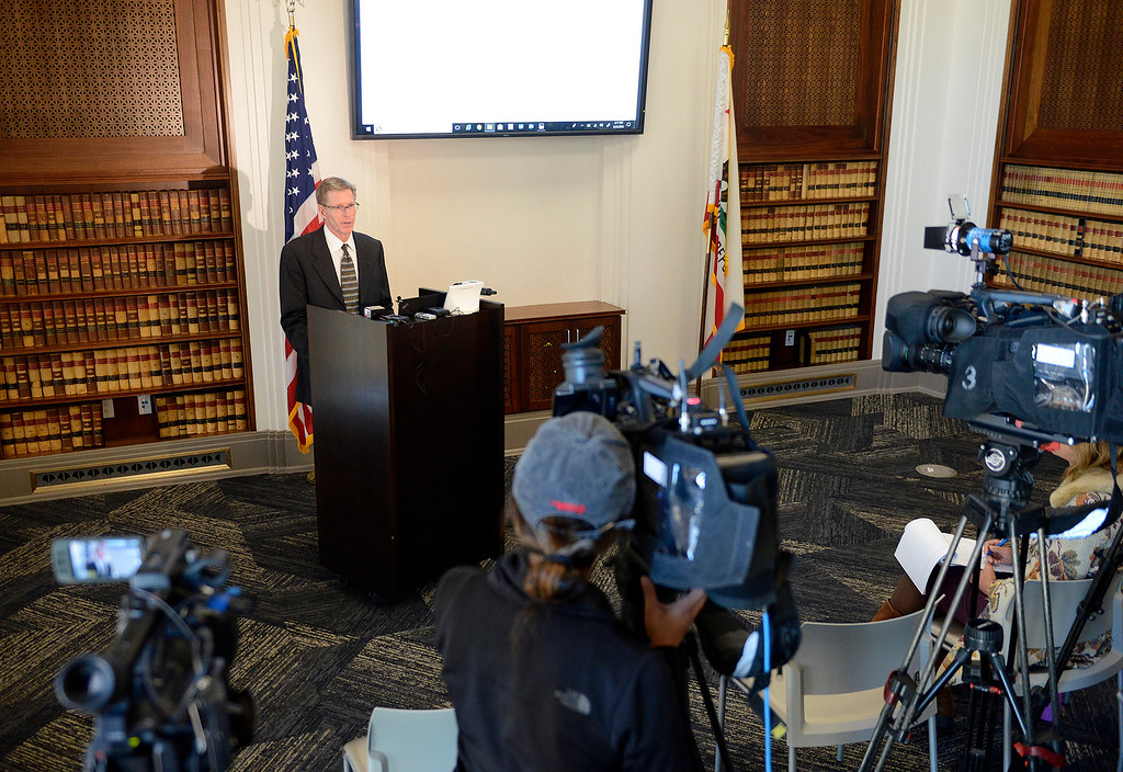 . Monterey County chief assistant district attorney Berkley Brannon addresses the media on Monday, September 24, 2018 on the recent officer involved shooting by Seaside police officer Manuel Fernandez against victim Brandon Virtue.  (Vern Fisher - Monterey Herald)