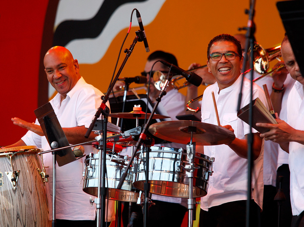 . Oscar Hernandez and the Spansih Harlem Orchestra on the Jimmy Lyons stage in the main arena at the Monterey Jazz Festival on Saturday, September 22, 2018.  (Vern Fisher - Monterey Herald)