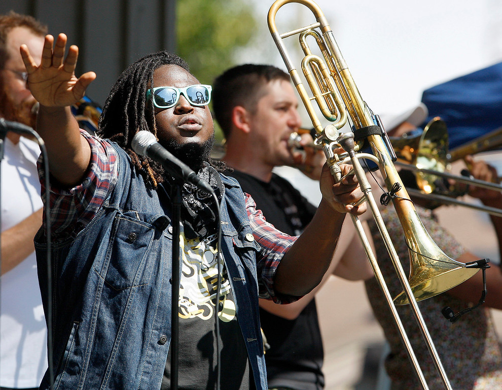 . The No BS! Brass Band performs on the Garden stage at the Monterey Jazz Festival on Saturday, September 22, 2018.  (Vern Fisher - Monterey Herald)