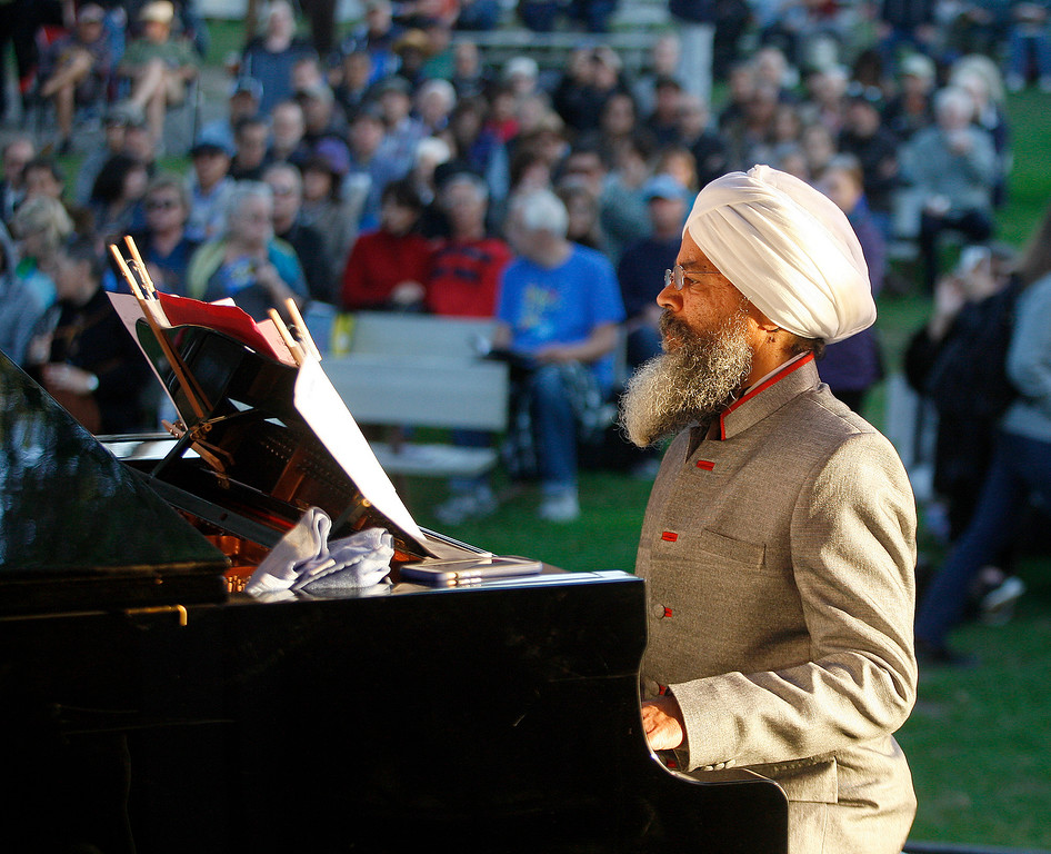 . Piano player Jasnam Daya Singh plays the Garden Stage with the Hristo Vitchev Quartet at the Monterey Jazz Festival on Friday, September 21, 2018.  (Vern Fisher - Monterey Herald)