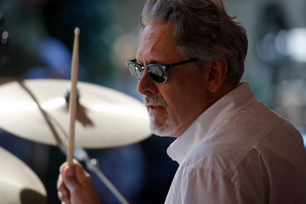 . Drummer David Marcaccio with the Thornetta Davis group on the Garden stage at the Monterey Jazz Festival on Saturday, September 22, 2018.  (Vern Fisher - Monterey Herald)