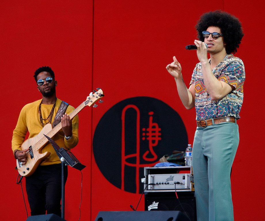 . Bassist Brad Allen Williams and Singer Jose James celebrate the music of Bill Withers on the Jimmy Lyons stage in the main arena at the Monterey Jazz Festival on Saturday, September 22, 2018.  (Vern Fisher - Monterey Herald)
