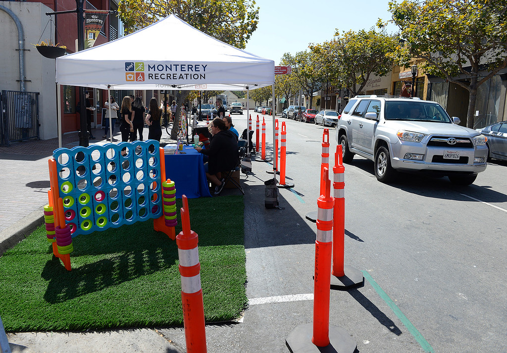 . The City of Monterey participated in (PARK)ing Day on Alvarado Street in Monterey on Friday, Sept. 21, 2018.  (PARK)ing Day is an annual event that transforms parking spaces into temporary parklets. These mini parks featured green spaces, outdoor seating and fun and educational booths from various City departments.  (Vern Fisher - Monterey Herald)