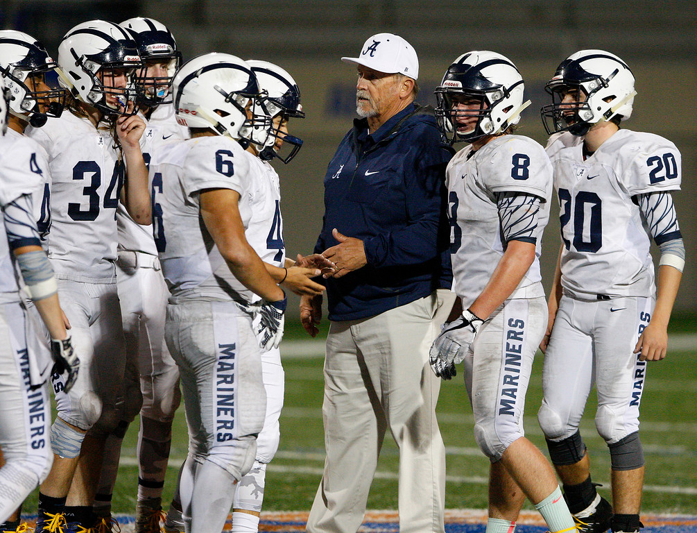 . Aptos head coach Randy Blankenship talks with his team during a timeout in the first half of their game against Palma at Rabobank Stadium in Salinas on Friday, Sept. 22, 2017.  (Vern Fisher - Monterey Herald)
