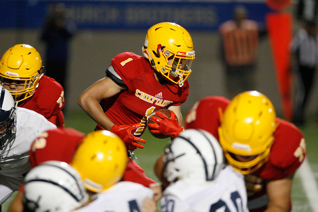 . Palma\'s Anthony Villlegas (1) runs for yards in the first half of their game against Aptos at Rabobank Stadium in Salinas on Friday, Sept. 22, 2017.  (Vern Fisher - Monterey Herald)