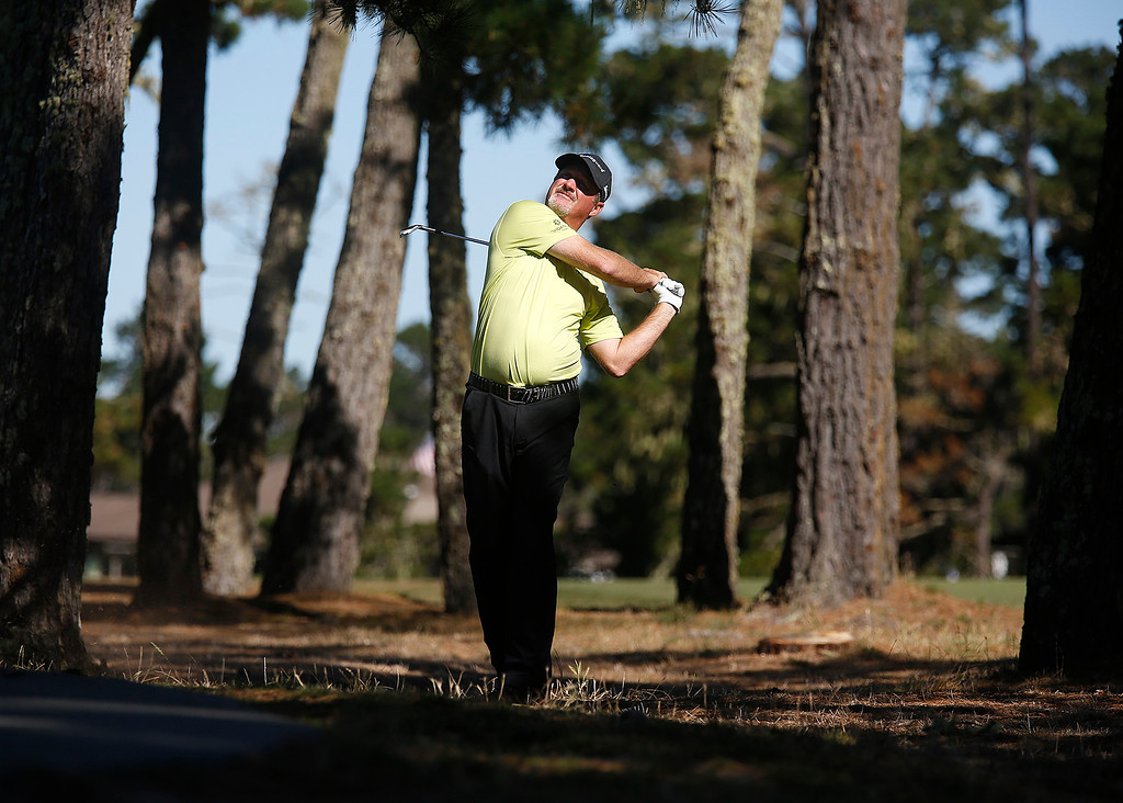 . PGA Tour Champions golfer Jerry Kelly knocks his ball back onto the 17th fairway during the Pure Insurance Championship Impacting The First Tee at Poppy Hills Golf Course in Pebble Beach  on Saturday September 23, 2017.(David Royal/Herald Correspondent)