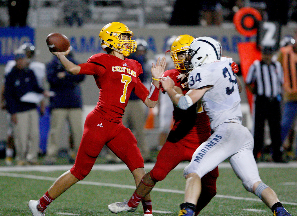 . Palma\'s Grant Sergent (7) throws a pass in the fourth quarter during their game against Aptos at Rabobank Stadium in Salinas on Friday, Sept. 22, 2017.  Aptos beat Palma 35-13.   (Vern Fisher - Monterey Herald)