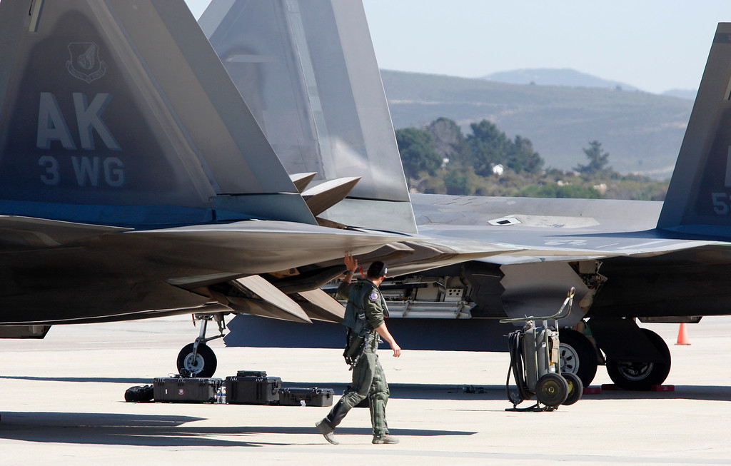 . One of the two pilots of the USAF F-22 Raptor at the Monterey Regional Airport on Tuesday, Sept. 26, 2017.  The two F-22 Raptor\'s were in town to appear at the California Airshow Salinas this weekend.  (Vern Fisher - Monterey Herald)