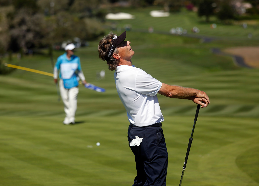 . PGA Tour Champions golfer Bernhard Langer reacts after just missing an eagle on the sixth hole on his way to winning the Pure Insurance Championship Impacting The First Tee at Pebble Beach Golf Links in Pebble Beach on Sunday September 24, 2017. Langer finished -17. (David Royal/Herald Correspondent)