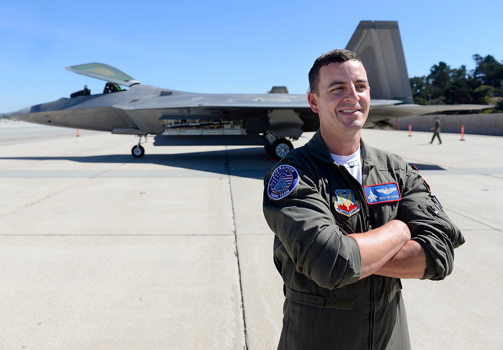 . USAF Major Dan Dickinson a pilot in the F-22 Raptor arrived at the Monterey Regional Airport on Tuesday, Sept. 26, 2017.  The two F-22 Raptor\'s were in town to appear at the California Airshow Salinas this weekend.  (Vern Fisher - Monterey Herald)
