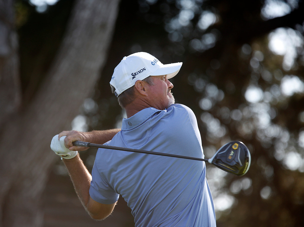 . PGA Tour Champions golfer Jerry Kelly hits his tee shot on the 13th hole during the final round of the Pure Insurance Championship Impacting The First Tee at Pebble Beach Golf Links in Pebble Beach on Sunday September 24, 2017. Kelly finished second at -14. (David Royal/Herald Correspondent)