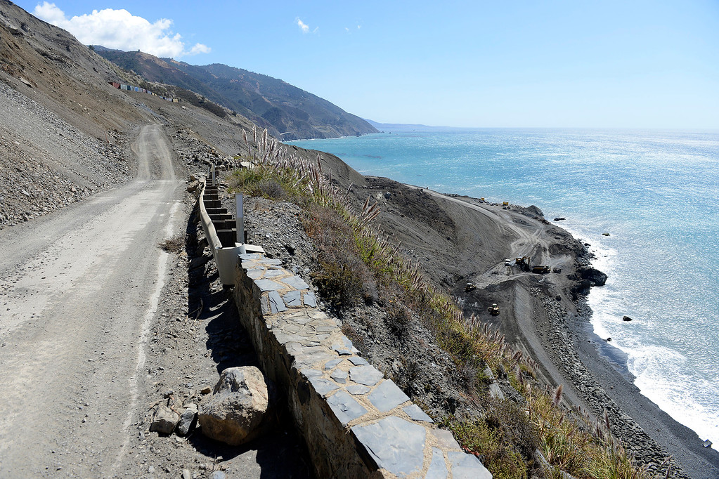 . Looking south from Highway One over the Mud Creek Slide in southern Monterey County on Thursday, Sept. 21, 2017.   (Vern Fisher - Monterey Herald)