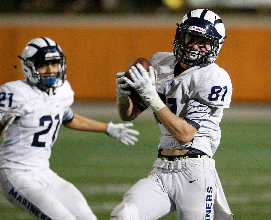 . Aptos\' Shane Modena (81) returns an interception in the fourth quarter for a touchdown during their game against Palma at Rabobank Stadium in Salinas on Friday, Sept. 22, 2017.  Aptos beats Palma, 35-13.  (Vern Fisher - Monterey Herald)