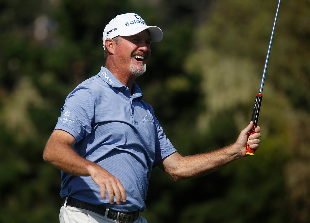 . PGA Tour Champions golfer Jerry Kelly reacts after sinking his put for a birdie on the twelfth green during the final round of the Pure Insurance Championship Impacting The First Tee at Pebble Beach Golf Links in Pebble Beach on Sunday September 24, 2017. Kelly finished second at -14. (David Royal/Herald Correspondent)