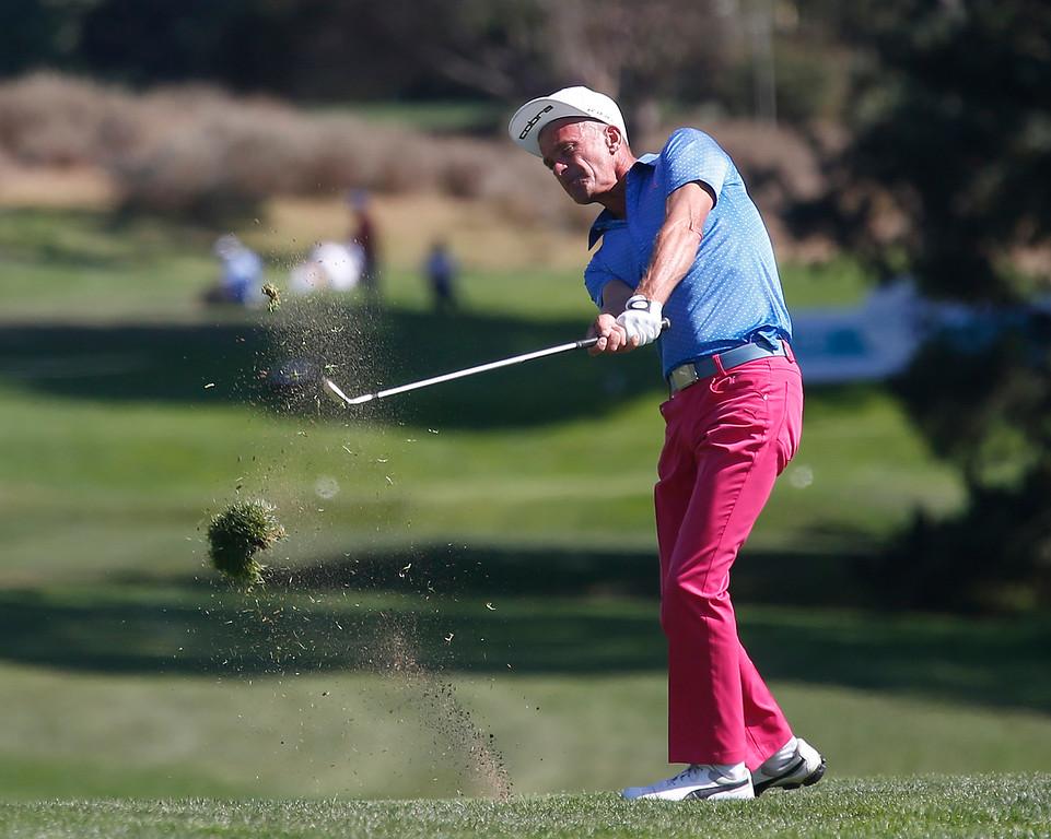 . PGA Tour Champions golfer Jesper Parnevik hits his second shot on the 13th fairway during the final round of the Pure Insurance Championship Impacting The First Tee at Pebble Beach Golf Links in Pebble Beach on Sunday September 24, 2017.(David Royal/Herald Correspondent)