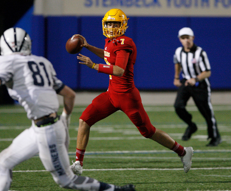 . Palma\'s Grant Sergent (7) runs for yards in the first half of their game against Aptos at Rabobank Stadium in Salinas on Friday, Sept. 22, 2017.  (Vern Fisher - Monterey Herald)