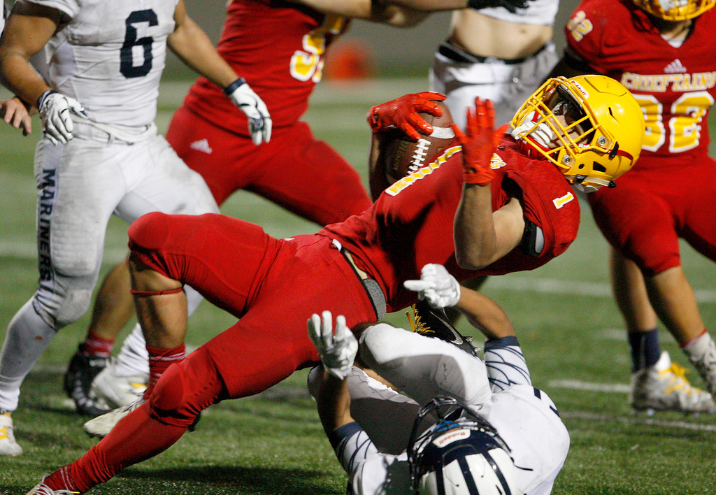 . Palma\'s Anthony Villlegas (1) runs for yards in the second half of their game against Aptos at Rabobank Stadium in Salinas on Friday, Sept. 22, 2017.  Aptos beat Palma 35-13.  (Vern Fisher - Monterey Herald)