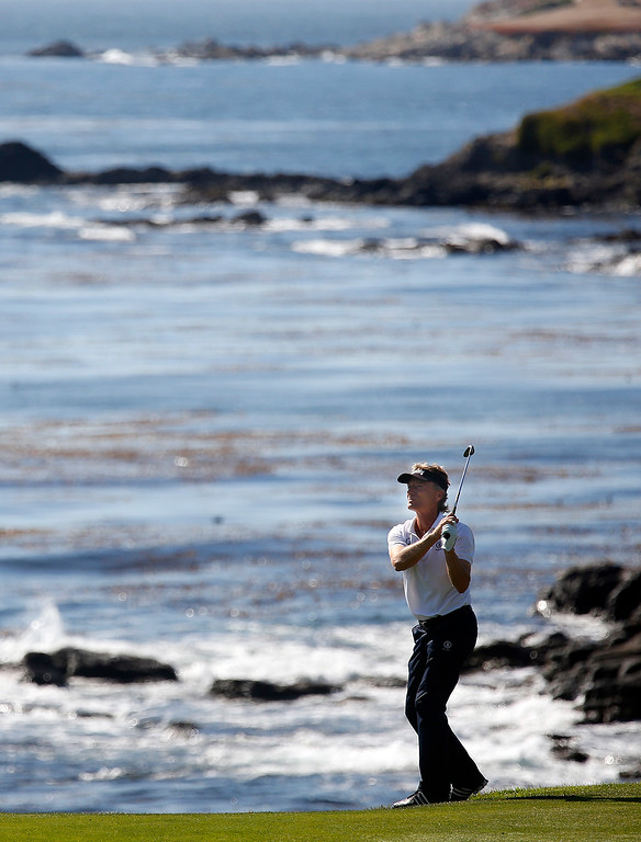 . PGA Tour Champions golfer Bernhard Langer hits his ball on the edge of the 10th fairway on his way to winning the Pure Insurance Championship Impacting The First Tee at Pebble Beach Golf Links in Pebble Beach on Sunday September 24, 2017. Langer finished -17. (David Royal/Herald Correspondent)